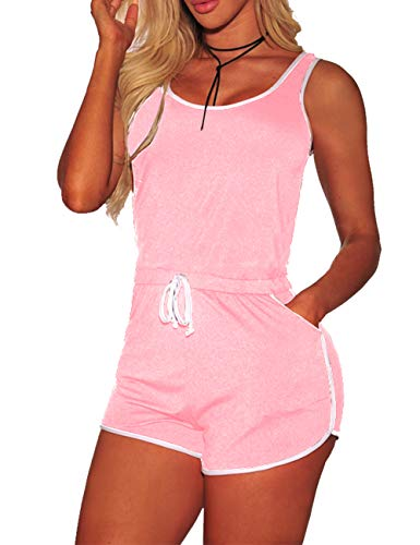 YouSexy Women's Summer Casual 2 Piece Tank Tops Shorts Set Pink