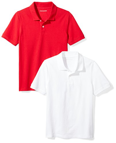 4t Polo Shirt - Amazon Essentials Boys' 2-Pack Uniform Pique Polo, Bright White/Red, 4T