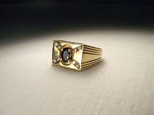 Handsome Estate 14K Yellow Gold Sapphire Diamond Mens Band Ring