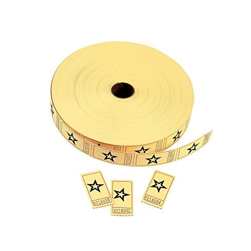 1 X Yellow Star Single Roll Tickets (2000 Tickets) - Bulk ()