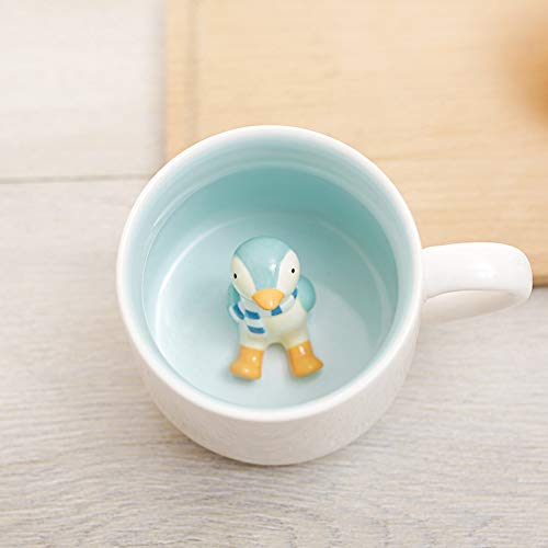 Surprise 3D Cartoon Miniature Animal Coffee Cup Mug with Baby Penguin Inside - Best Office Cup & Christmas Gift - Penguin 3d