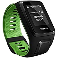 TomTom Runner 3 Cardio + Music GPS Running Watch (Fitness Age with VO2 Max, Built-in Music Player, Built-in Heart Rate Monitor, Run, Swim, Cycle & Gym Modes, 50+ Personalised Workouts)  Black/Green - Large