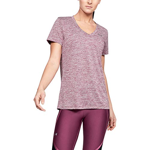 Under Armour womens Tech V-Neck Twist Short Sleeve T-Shirt, Level Purple (570)/Metallic Silver, -