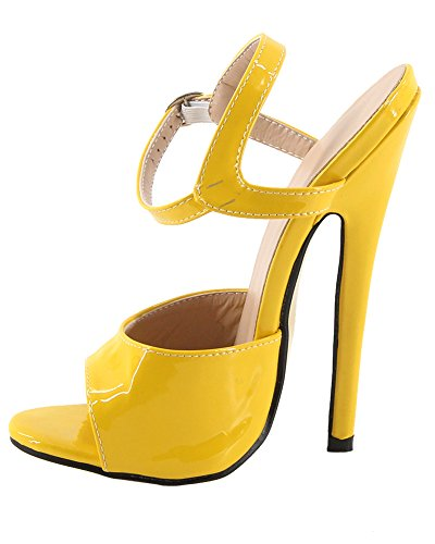 high WONDERHEEL fetish sexy strap sandales jaune stilleto heel ankle femme 7