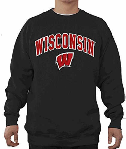 Wisconsin Badgers Mens Black Embroidered College Classic Crewneck Sweatshirt (Medium) Black Classic College Crew Fleece