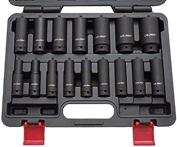 Negro 12 piezas Tivoly 11521470001 Estuche de llaves de vaso de impacto de 1//2 y accesorios