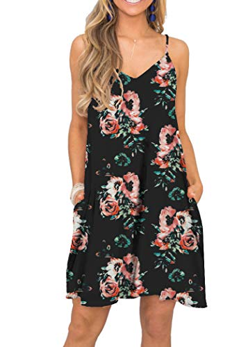 MISFAY Women V Neck Halter Printed Casual Strap Dress (L, Black Red)