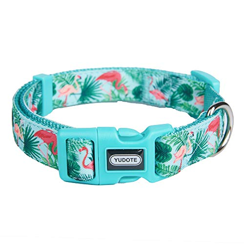 Designer Nylon Dog Collar Spring Flamingo Pattern Printing on Premium Ribbon,Comfy and Durable Collar for Puppies or Heavy Duty Dogs,Flamingo,Neck 16