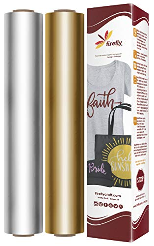 Firefly Craft Elastic Foil Heat Transfer Vinyl Bundle | Precious Metals Metallic HTV Vinyl Bundle | Iron On Vinyl for Cricut and Silhouette | Pack of Rolls - Including Gold HTV - 12 x 20 Each