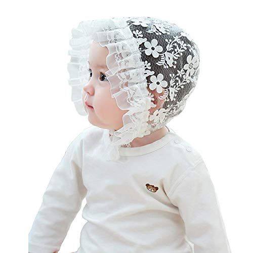 inSowni Baptism Christening Hat Bonnet Cap Lace Flower for Newborn Baby Girl Toddlers (White, M: 6-12 Months) ()