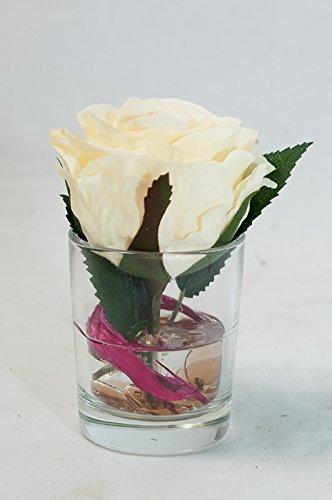Centro Con Crema Rosa En Un Vaso Arreglos Florales Con