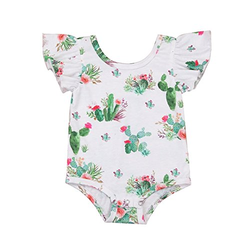 ViWorld Summer Baby Girl Bodysuit Sweet Romper Cactus Ruffle Short Sleeve Jumpsuit (Cactus Ruffle, 70(0-3 -