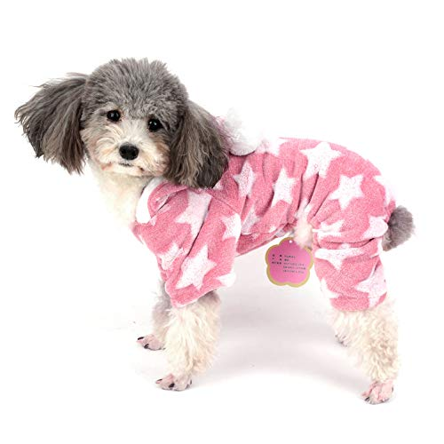 Ranphy Dog Pajamas Fleece Overall Winter Jumpsuit Girl Pet Pjs Hoodie Chihuahua Clothes Puppy Pyjamas Outfit Doggy Christmas Costume Yorkie Apparel for Small Dog Cat Pink ()