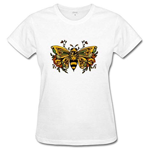 Qthrifty59 Women's Vintage Butterfly Bee Tattoo T-Shirts XXL White for $<!--$21.95-->