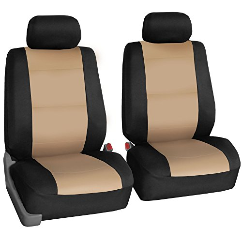 FH Group FH-FB083102 Neoprene Waterproof Car Seat Covers, Pair Set Buckets Airbag Ready-Beige