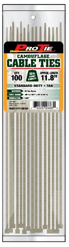 Pro Tie CFT11SD100 11-Inch Tan Nylon Standard Duty Cable Ties, 100-Pack by Pro Tie