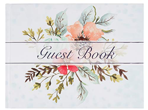 Sustainable Greetings Guest Book - 72-Sheet Wedding Guest Book for Business Banquet, Baby Shower, Graduation Party, Floral Print Design, 8.3 x 6.25 x 0.45 Inches