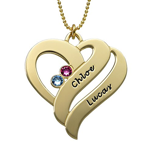 Two Hearts in One Necklace w Sworavski Birthstones- Custom Engraved Couples Pendant - Gift For Her by My Name Necklace