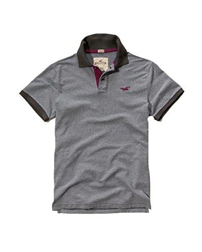Hollister Mens Polo Shirt T Shirt  Medium  Stretch Gray