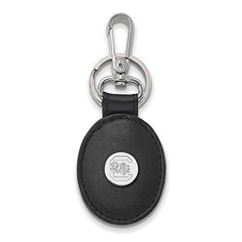 South Carolina Black Leather (Solid 925 Sterling Silver U of South Carolina Black Leather Oval Key Chain)
