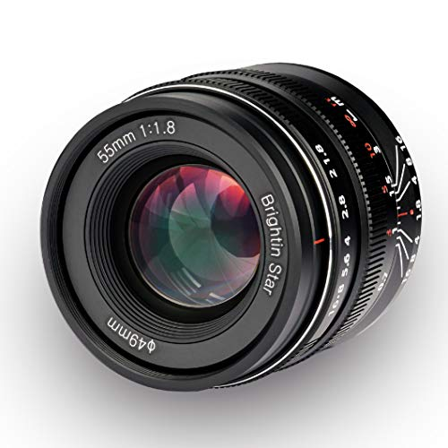 Brightin Star 55mm F1.8 Full Frame Large Aperture Manual Focus Lens for Sony E-Mount Mirrorless Cameras