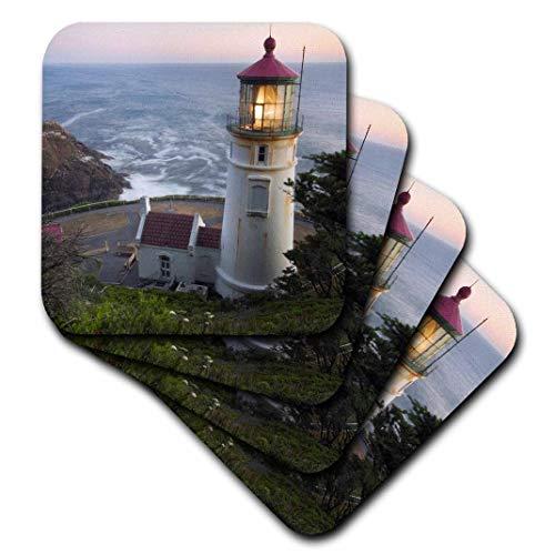 3dRose Haceta Head Lighthouse, Oregon, USA - Us38 Rkl0018 - Raymond Klass - Soft Coasters, Set of 8 (CST_94104_2) ()