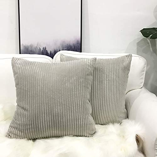 Miaote Pack of 2 Decorative Throw Pillow Covers Cases for Couch Bed Sofa,Striped Corduroy Velvet Cushion Covers for Baby,26 X 26 Inches, Light Grey