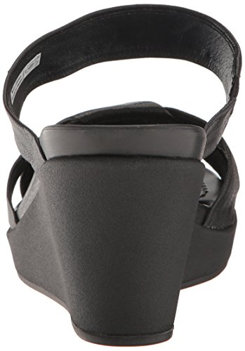 crocs Women's leighann Leather Wedge Sandal, Black/Black, 7 M US by Crocs (Image #2)