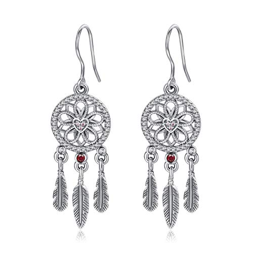 (Eudora 925 Sterling Silver Dreamcatcher with Feather Necklace Good Luck Earring Eardrop Fish Hook Dangle Drop)
