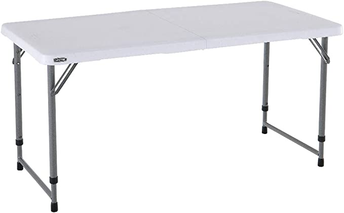 LIFETIME 4428 Plegable Multiusos Resistente UV100, blanco, Mesa altura ajustable 122x61x60-90 cm