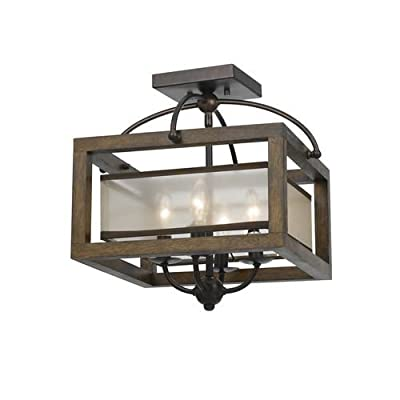 Cal Lighting FX-3536/1C Mission 4 Light Flush Mount Ceiling Fixture with Organza,