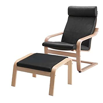 Ikea Poang Chair Armchair and Footstool Set with Black Leather Covers
