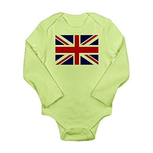 Royal Lion Long Sleeve Infant Bodysuit British English Flag HD - Kiwi, 0 to 3 Months