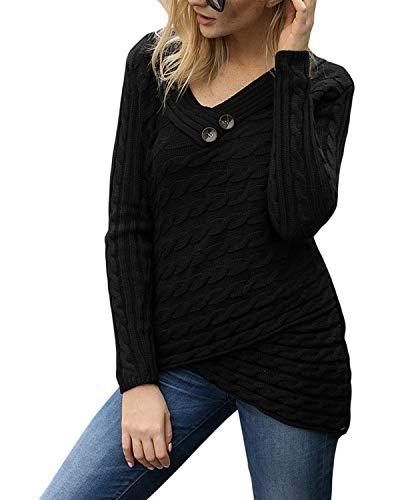 Manica Maglioncino Size A V Donna Lunga L Irregolare color Black Scollo Ovesuxle Con Black Maglia fTqxwtRt