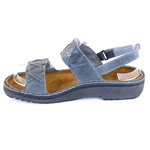 Naot Damen Schuhe Sandaletten Orta Echt-Leder blaugrau 14295 Wechselfußbett