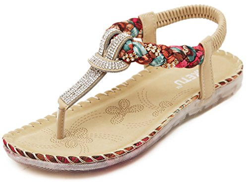 (Women Summer Bohemian Glitter T-Strap Vacation Flat Thong Sandals, Simple Rhinestones Red Open Toe Herringbone Silk-Like Floral Comfy T Strap Shoes for Dressy Casual Jeans Daily Wear Beach Holiday)