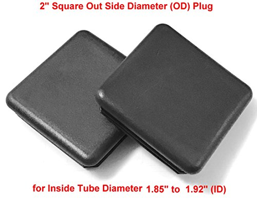 (Pack of 200) 2'' Square ( 14 - 20 Ga 1.85'' - 1.92'' ID ) Black Plastic Tubing Plug, 2 Square Inch End Cap 2''x2'' - Steel Fence Post Pipe Tube Cover Insert | - End Caps for Fitness Equipment by SB Distribution Ltd.