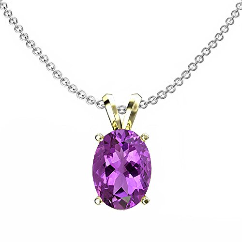 - Dazzlingrock Collection 14K 9x7 mm Oval Cut Amethyst Ladies Solitaire Pendant (Silver Chain Included), Yellow Gold