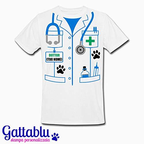 regalo per dottore o laurea in veterinaria idea divertente costume Carnevale T-shirt uomo Camice da veterinario PERSONALIZZATA CON IL TUO NOME amante degli animali!