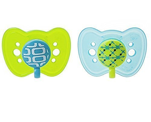 The First Years 2 Piece Gumdrop Newborn Ortho Assorted Pacifier, 1 Boy 1 Girl 2 Neutral -