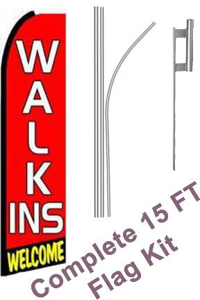 "NEOPlex - ""Walk Ins Welcome (Extra Wide)"" Complete Flag Kit - Includes 12' Swooper Feather Business Flag With 15-foot Anodized Aluminum Flagpole AND Ground Spike"