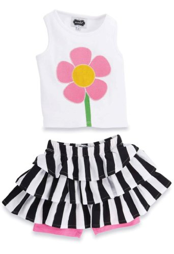 White Cotton Bold Floral Skirt - 1