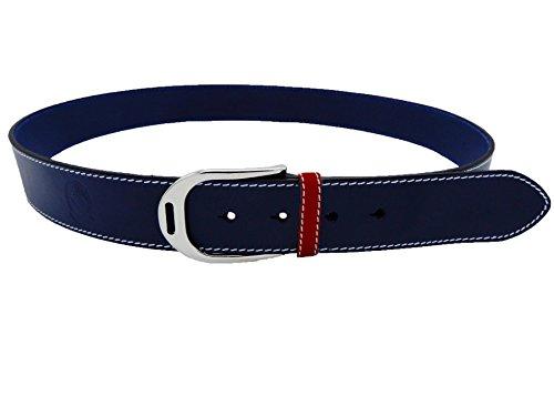 LILO Collections Estribo Grande - Cinturón de piel de 1,5 cm, azul marino/rojo/plateado, 32