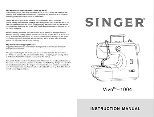 (Singer 1004-VIVO Sewing Machine/Embroidery/Serger Owners Manual Reprint)