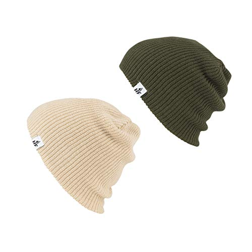 HOT FEET Unisex Winter Beanies | Warm Knit Men's and Women's Hats/Caps | Value Pack/Set of 2 - (Olive Green/Tan)