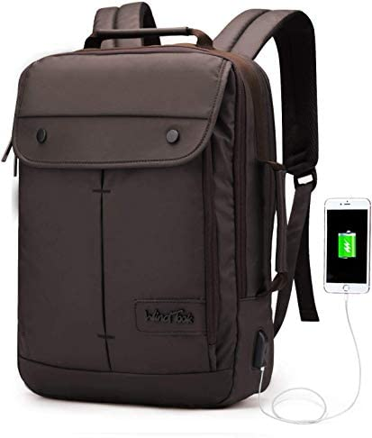 SHRAY Casual Laptop Backpack Daypack with USB Charging Port for 15 Inch Laptop and Notebook 1989-coffee