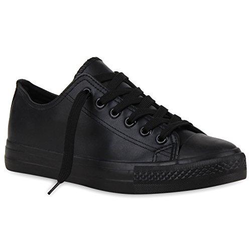Stiefelparadies Damen Sneakers Spitze Sneaker Stoffschuhe Sportschuhe Basic Freizeit Schuhe Flandell Schwarz Glatt