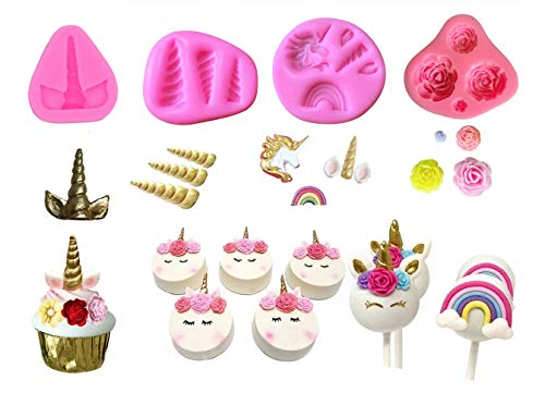 Mini Unicorn Mold Unicorn Horn Ears Flower and Rainbow Cupcake Topper Fondant Chocolate Mold( Set of 4)
