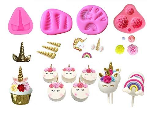 Mini Unicorn Mold Unicorn Horn Ears Flower and Rainbow Cupcake Topper Fondant Chocolate Mold( Set of 4)