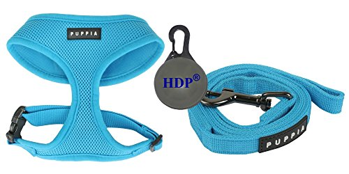 Puppia Dog Soft Mesh Harness and a Leash COMBO Color:Blue Size:Small